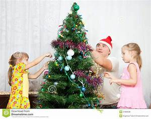 Children Decorate The Christmas Tree Stock Photo - Image ...