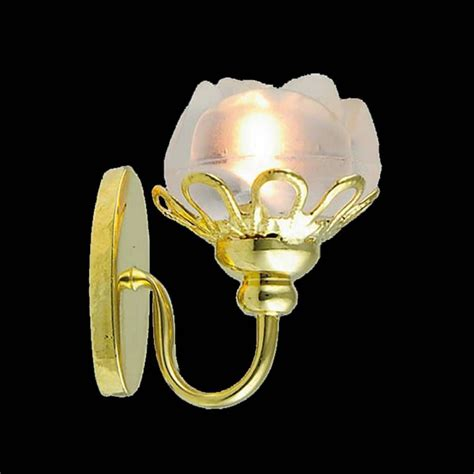 wall sconce with flower shade for dolls house wired