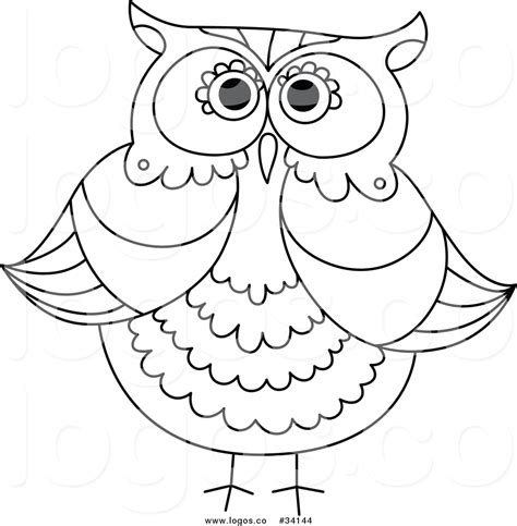owl outline drawing vector logo of a owl outline v12 by vector tradition sm