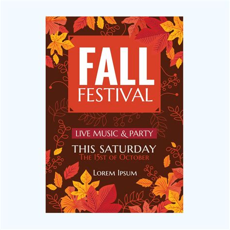 vector autumn party poster  fall festival  leaves