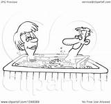 Tub Cartoon Couple Outline Clip Illustration Toonaday Royalty Rf Coloring Template Clipart Sketch Line Clipartof sketch template