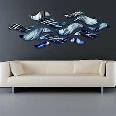 """""""rip Tide"""" Blue Metal Wall Art Sculpture Modern Abstract"""