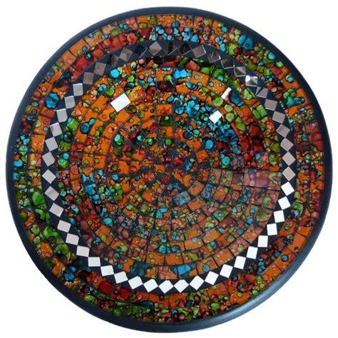 spiegel mosaik deko mosaikschale tonschale glasschale dekoschale mosaik kunst deko rund spiegel xl ebay
