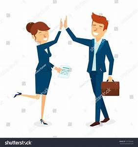 High Five Business Man Woman Character Stock Vector ...