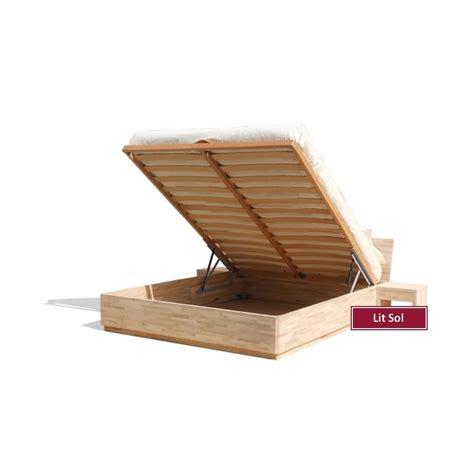 lit sol avec coffre de rangement en bois de hetre massif