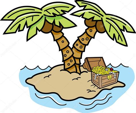Cartoon Island With Palm Trees And A Treasure Chest