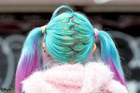 ahoge pastel twintails  harajuku  sweater striped