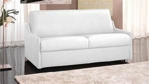 canape convertible rapido luna cuir recycle blanc couchage With canapé convertible cuir couchage quotidien