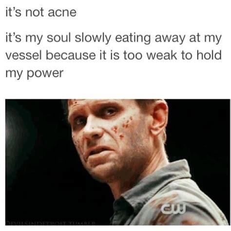 Lucifer Meme - supernatural haha lucifer mark pellegrino quot it s not acne quot supernatural pinterest