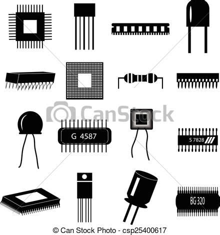 Electronic Circuit Parts Icons Set