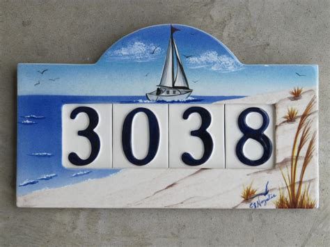 custom painted ceramic house number tile plaque or sign