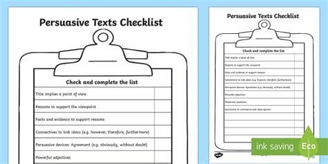 persuasive texts checklist persuasive texts