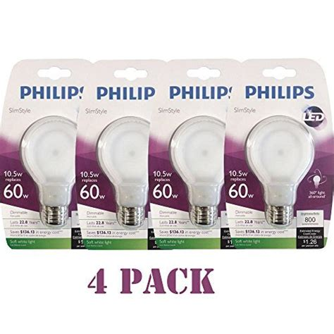 philips 433227 10 5 watt slim style dimmable a19 led light