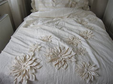 shabby chic neutrals bedding dahlia flower applique bohemian bedding shabby chic duvet