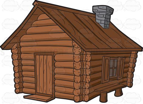 Cabin Clipart A Log Cabin With Chimney And A Bench Clipart By Vector