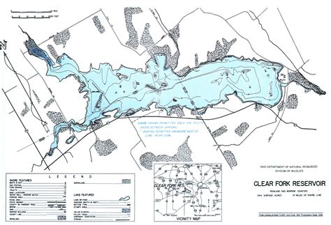 Boat Rental East Fork Lake Ohio by Clear Fork Lake Fishing Map Central Ohio Fishing