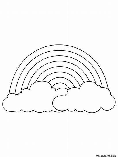 Rainbow Coloring Pages Printable Clouds Sheets Animationsa2z