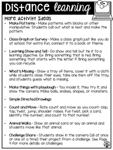 distance learning idea list  preschool pre