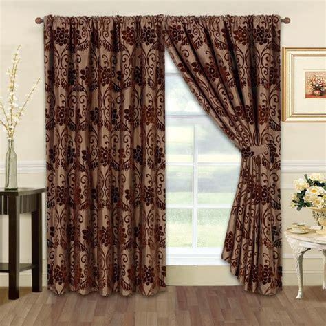 ready made flock designer curtains chocolate brown