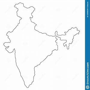 India Outline Map Vector Illustration Stock Vector