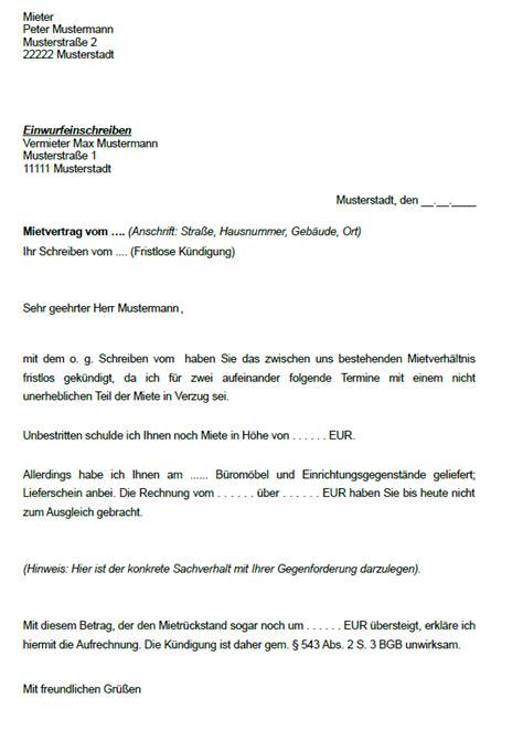 fristlose kündigung durch mieter muster vermieter paket abmahnungen k 252 ndigung sofort