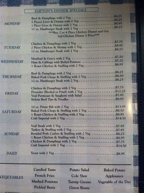 dayton menu chicken seafood salisbury md