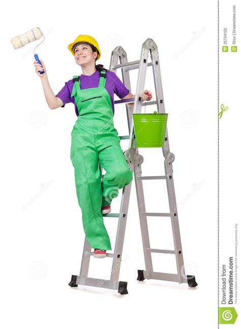 woman worker  ladder stock photo image  building