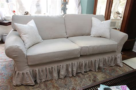 shabby chic slipcovered sofa shabby chic sofa couch ruffle slipcover by vintagechicfurniture