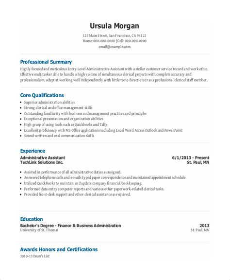 Entry Level Officer Resume by 7 Entry Level Administrative Assistant Resume Templates