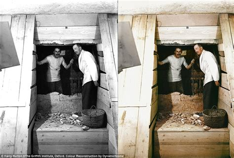 Images show King Tutankhamun's tomb in COLOUR for the ...