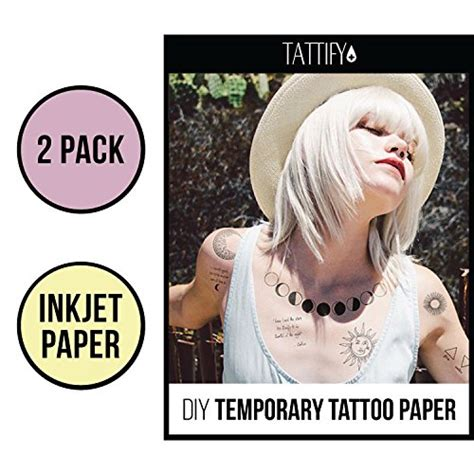 tattify diy temporary tattoo paper  sheet pack  inkjet