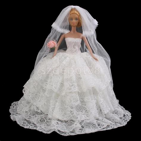 doll wedding dresses handmade fashion white wedding dress gown clothes