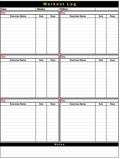 workout log templates   track  workout plan