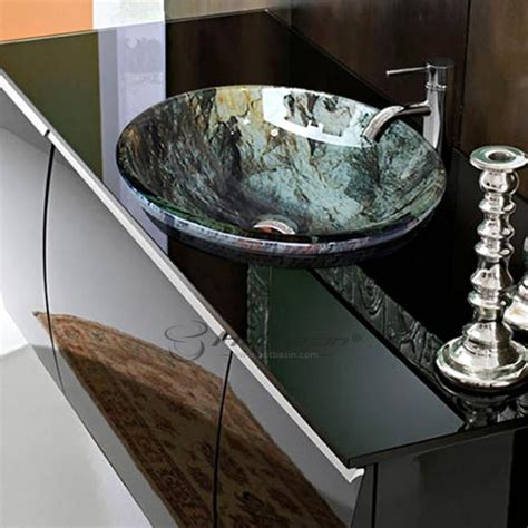 thick drop inovermount  stained glass bowl sinks