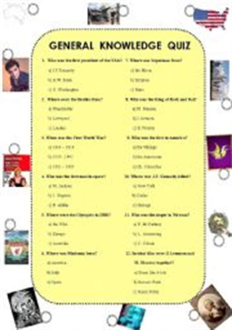general knowledge quiz was were esl worksheet by renca