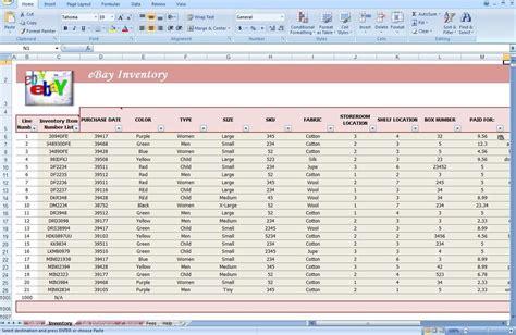 jewelry inventory spreadsheet template ebay store