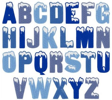 Snow Covered Letters by Snow Font From Embroidery Patterns Abc S 1 2 3 S
