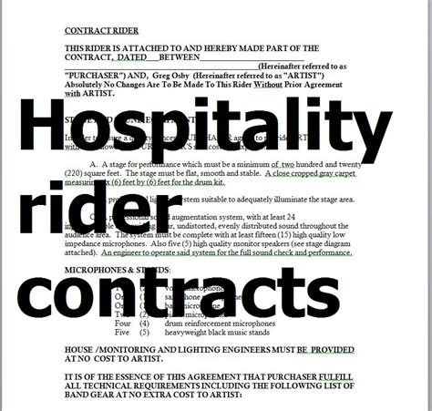 samples hospitality rider contracts  word  sample
