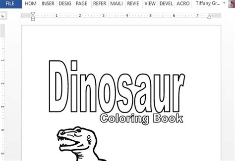 printable dinosaur coloring book  word