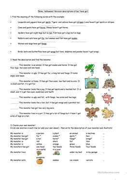 44 Free Esl Monsters Worksheets