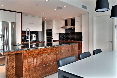 photos de cuisines contemporaines de laque et de noir armoires et îlot de cuisine