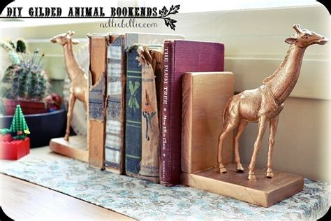 diy gilded aninmal bookends     book