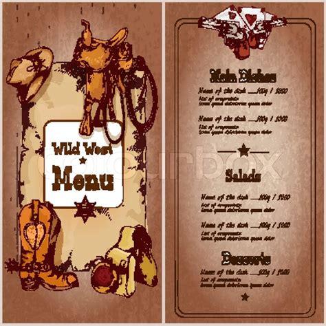 wild west restaurant menu template stock vector