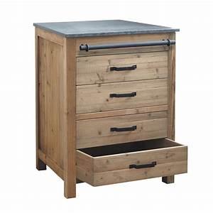 Meuble Bas Bois : meuble bas de cuisine en bois recycl l 70 cm pagnol maisons du monde ~ Teatrodelosmanantiales.com Idées de Décoration