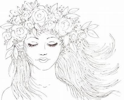 Traceable Flowers Hair Drawing Acrylic Boho Coloring
