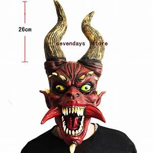 2018, New, Scary, Adult, Costume, Horn, Zombie, Mask, Horror, Party, Cosplay, Halloween, Party, Scary, Horns