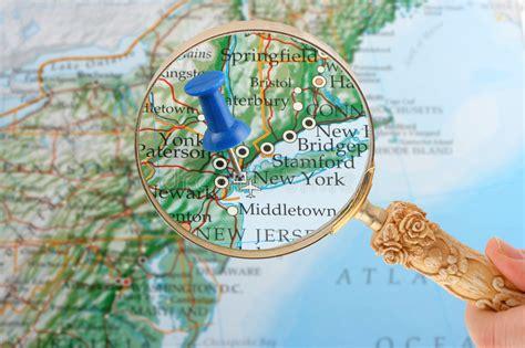 New York Map Tack Stock Image