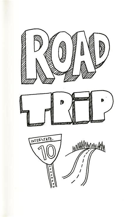 road trip drawings on the fridge