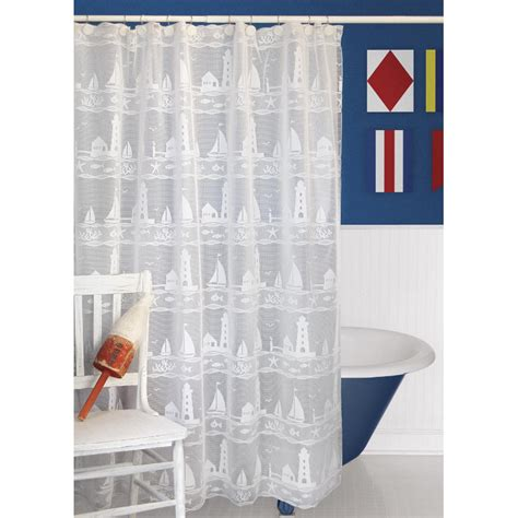 Lighthouse And Sailboat Shower Curtain