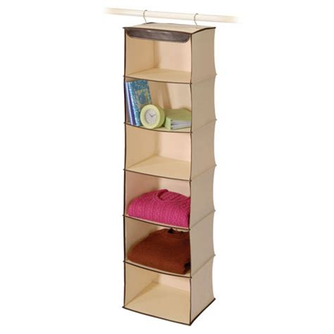 Canvas & Faux Leather 6shelf Closet Organizer In Hanging